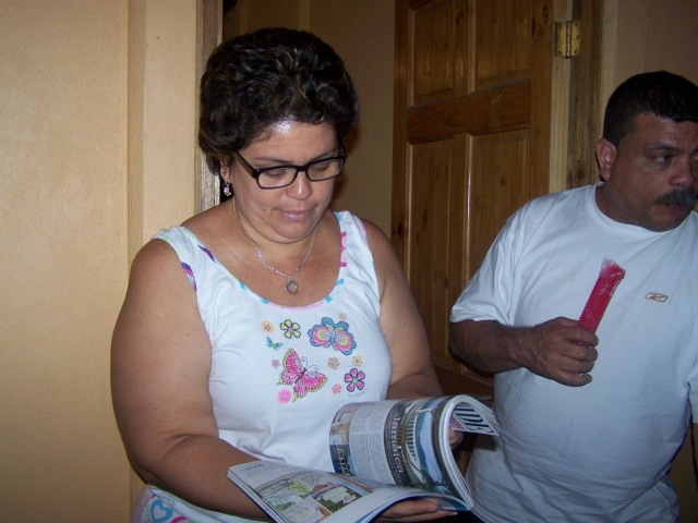 Auntie reading my spread in Bridal Guide magazine.