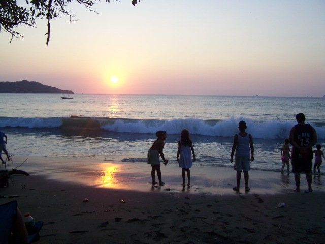 Sunset on Tamarindo beach.